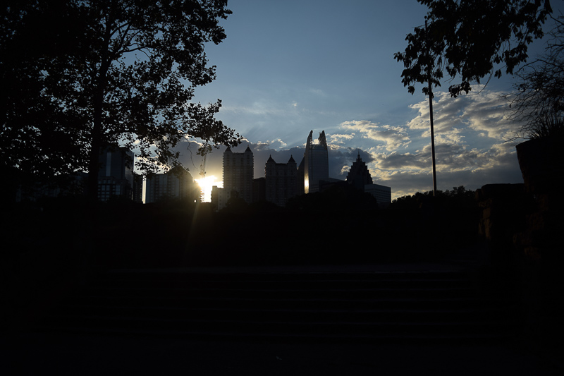 City skyline silhouette from Piedmont Park.