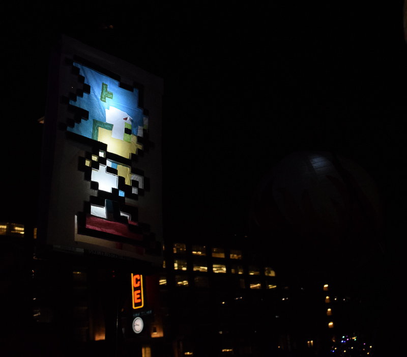 A lantern displaying Sonic the Hedgehog.