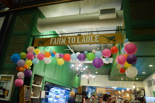 Lanterns adorn the Farm to Ladles store front.
