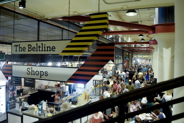 Ponce City Market was full of people who would soon watch the Lantern Parade on the Atlanta Beltline's Eastside Trail.